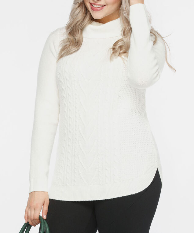 Rounded Hem Cowl Neck Sweater, Ivory, hi-res