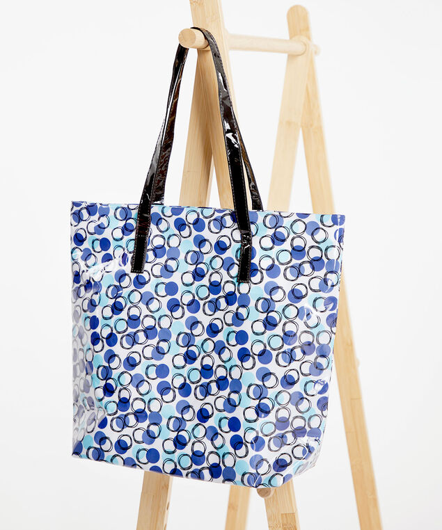 Printed PVC Tote Bag, Blue Bell Dot