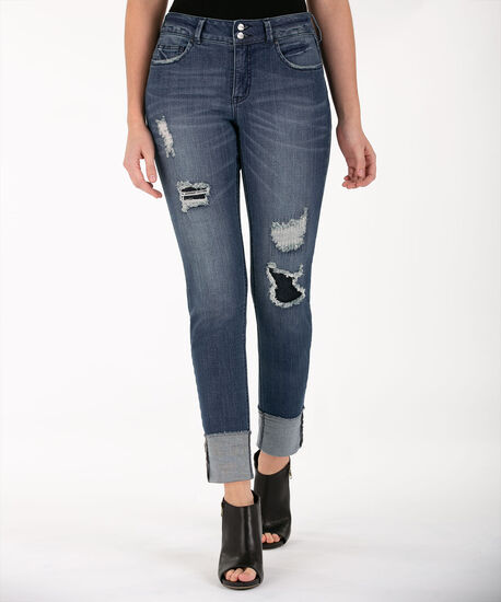 Distressed Cuffed Ankle Jean, Mid Wash, hi-res