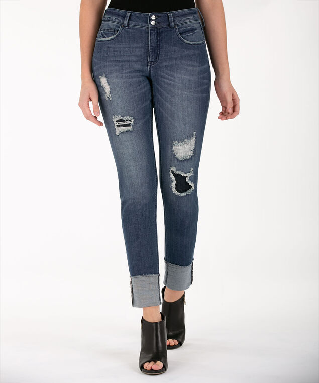 Distressed Cuffed Ankle Jean - Short, Mid Wash, hi-res