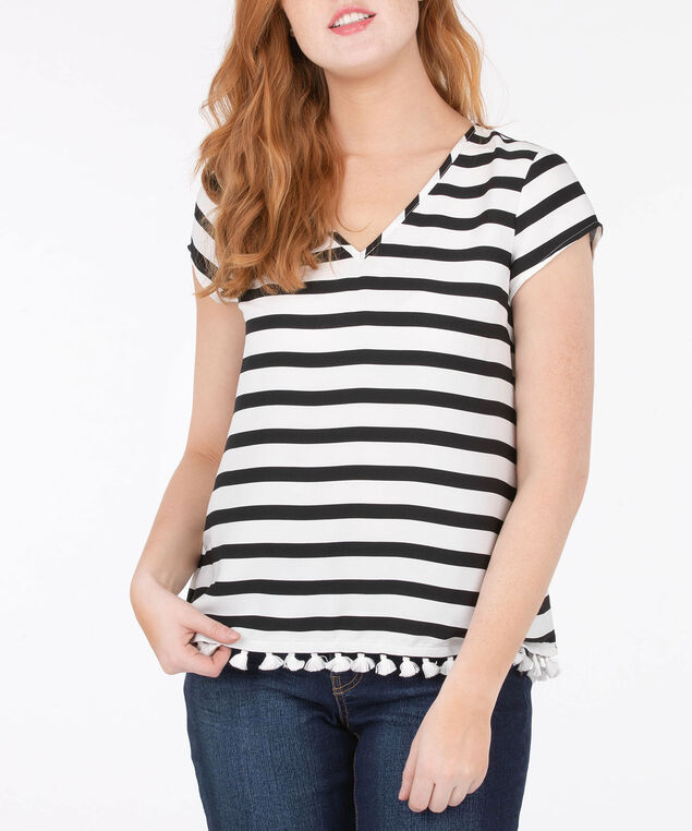 Striped Tassel Trim V-Neck Blouse, White/Black, hi-res