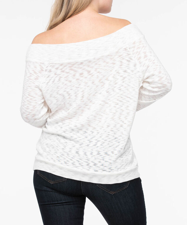 Off-the-Shoulder Slub Knit Top, Pearl, hi-res