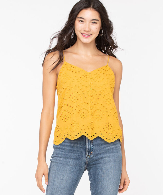 Strappy Eyelet Mixed Media Top, Gold, hi-res