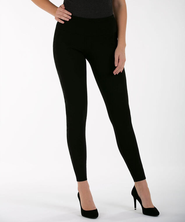 Luxe Ponte Lace Trim Legging, Black, hi-res