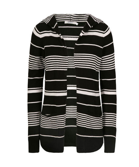 Hooded Striped Open Cardigan, Black/White, hi-res