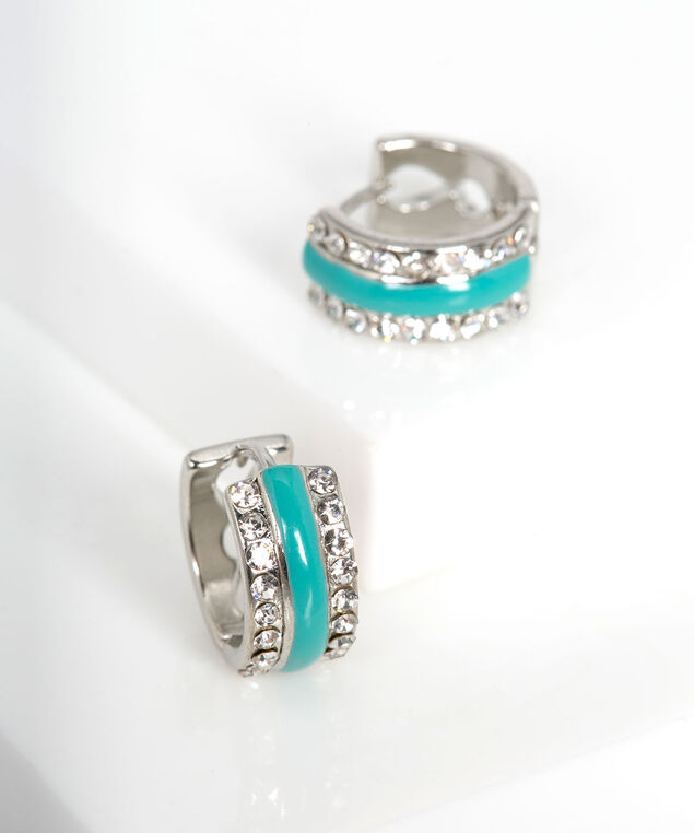 Epoxy & Crystal Huggie Earring, Bright Aqua/Rhodium, hi-res