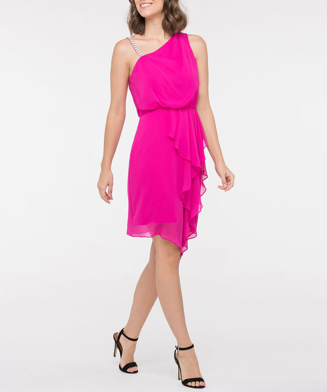 Bejewelled One Shoulder Ruffle Front Dress, Bright Pink, hi-res