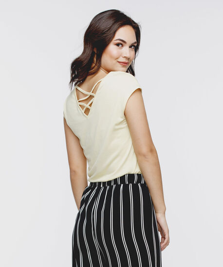 Cross Back Extended Sleeve Top, Yellow, hi-res