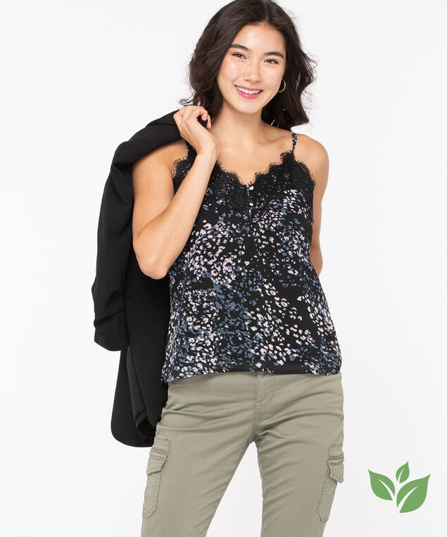 Eco-Friendly Strappy Lace Trim Cami, Black/Soft Blush/Teal, hi-res