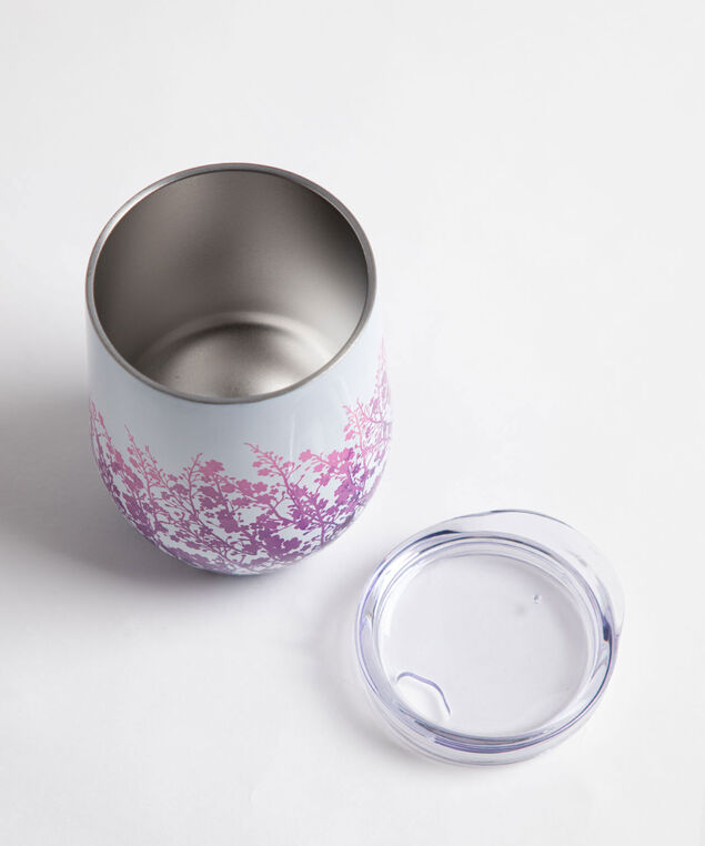 Patterned Insulated Wine Tumbler, Purple Floral