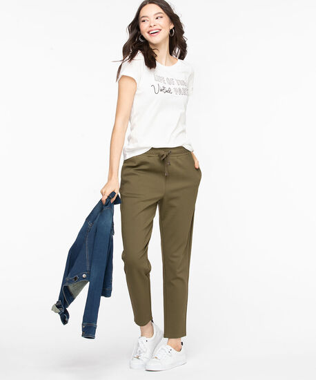 Ponte Drawstring Waist Pant, Olive Night, hi-res
