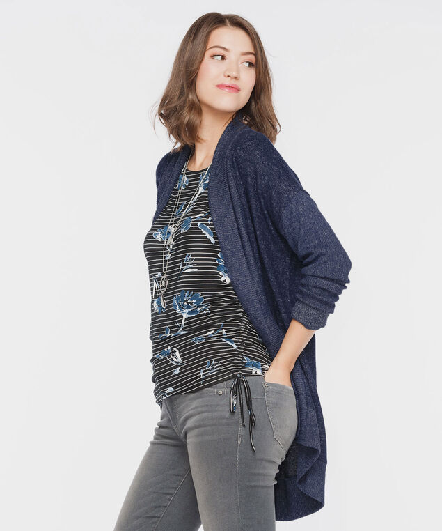 Ribbed Trim Open Cardigan, Midnight Blue, hi-res