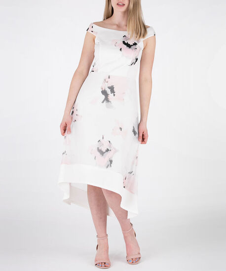 Floral Mesh Overlay Scuba Dress, White/Peach Print, hi-res
