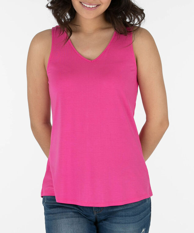 Lace-Up Back Sleeveless Top, Bright Pink, hi-res