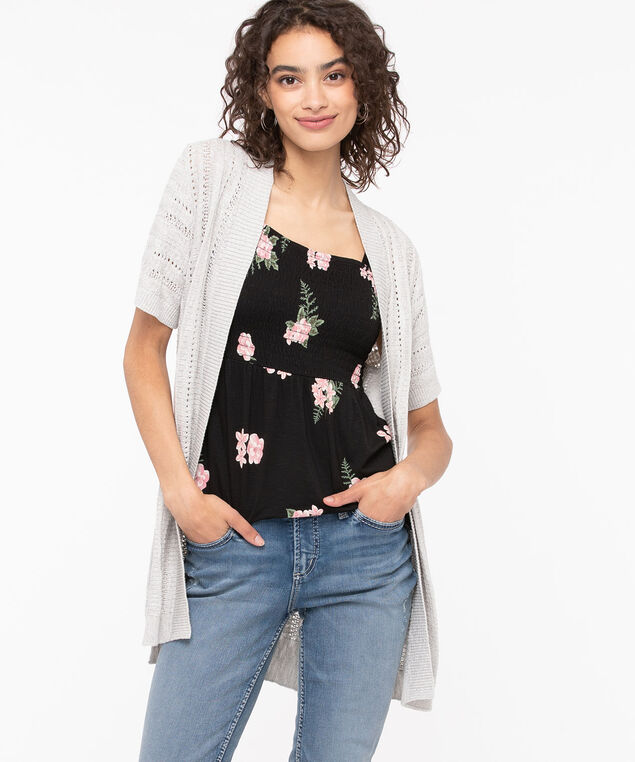 Short Sleeve Pointelle Open Cardigan, Linen, hi-res