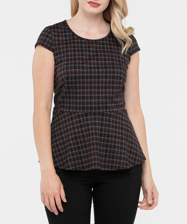Cap Sleeve Plaid Peplum Top, Grey/Burgundy/Black, hi-res