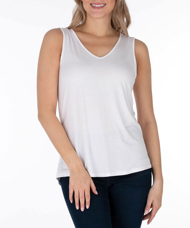 Lace-Up Back Sleeveless Top, True White, hi-res