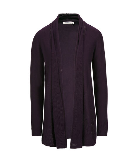 Perforated Knit Open Cardigan, Deep Purple, hi-res