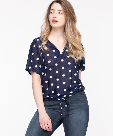 Split Neck Drawstring Hem Top, Navy Dot, hi-res