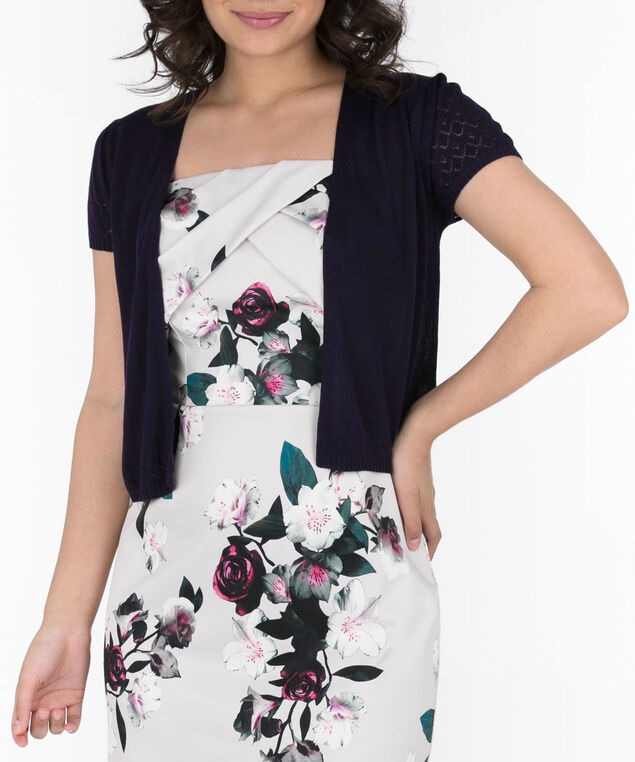 Pointelle Short Sleeve Cardigan, Deep Purple, hi-res