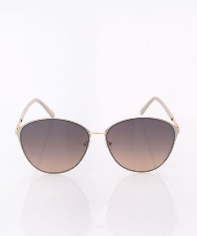 Rounded Cateye Sunglasses, Taupe/Gold, hi-res