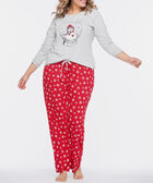 Snowman Screen Tee Pajamas, Grey/Black/Crimson, hi-res