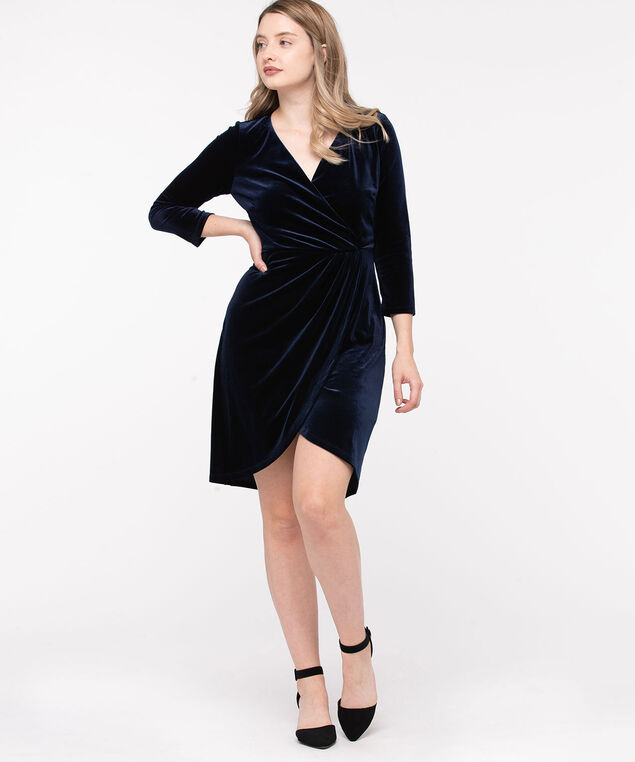 Velvet Wrap Front Dress, Peacoat Blue, hi-res