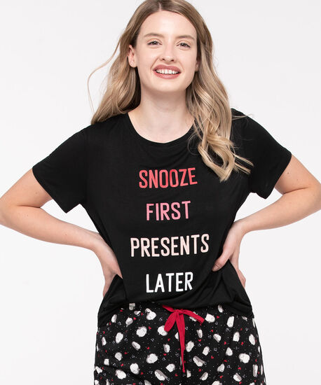 Short Sleeve Pajama Tee, Black/Pink/Blush, hi-res