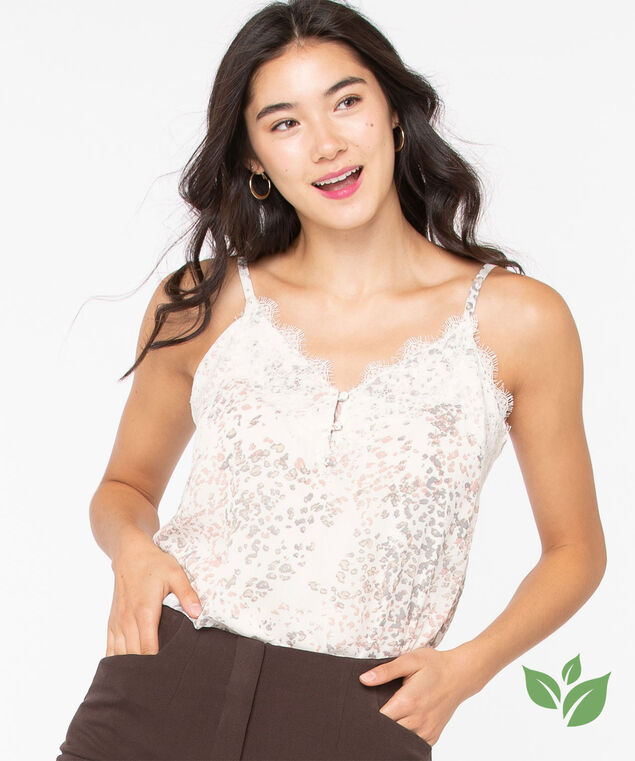 Eco-Friendly Strappy Lace Trim Cami, Ivory/Soft Blush/Grey