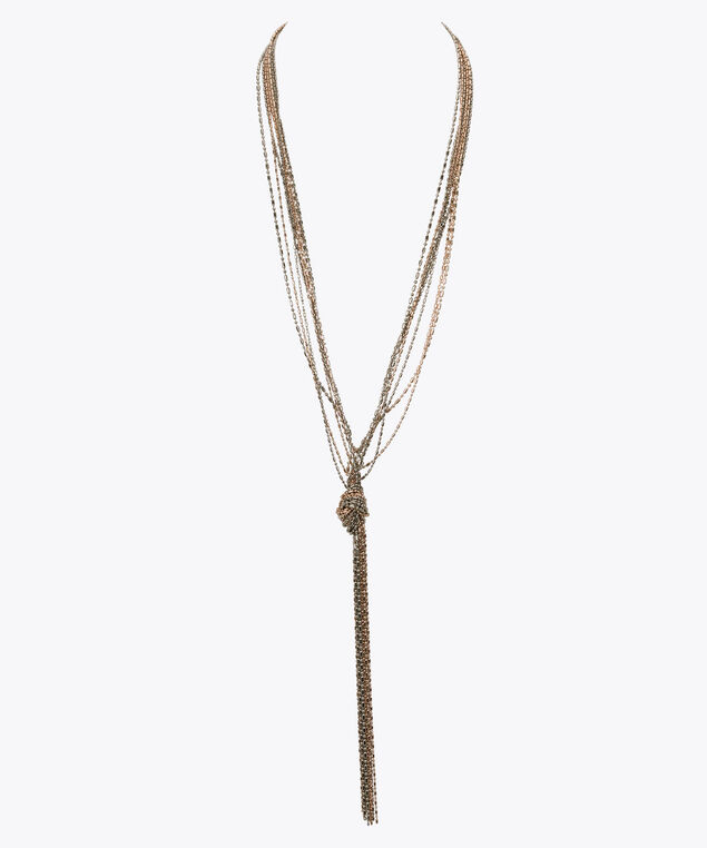 Mixed Metal Knot Lariat Necklace, Rhodium/Rose Gold, hi-res
