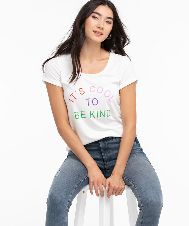 Scoop Neck Shirttail Graphic Tee, White/Cool to be Kind