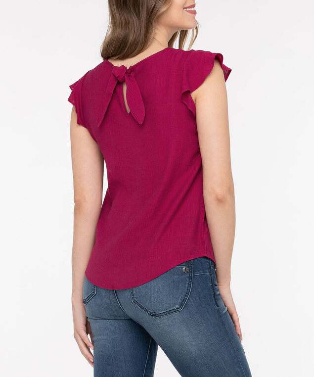 Button Front Tie Back Blouse, Berry, hi-res