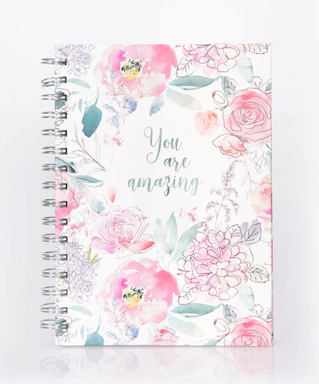 You Are Amazing Spiral Notebook, White/Teal/Pink/Silver, hi-res