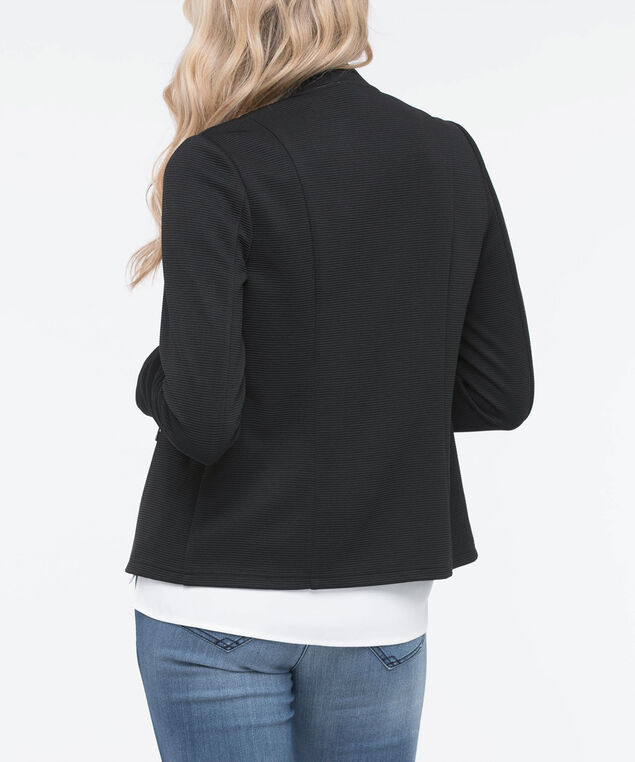Textured Open Blazer, Black, hi-res