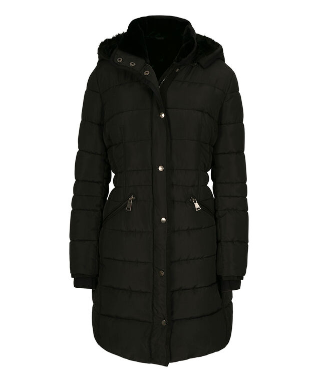 Long Plush Lined Quilted Coat, Black, hi-res