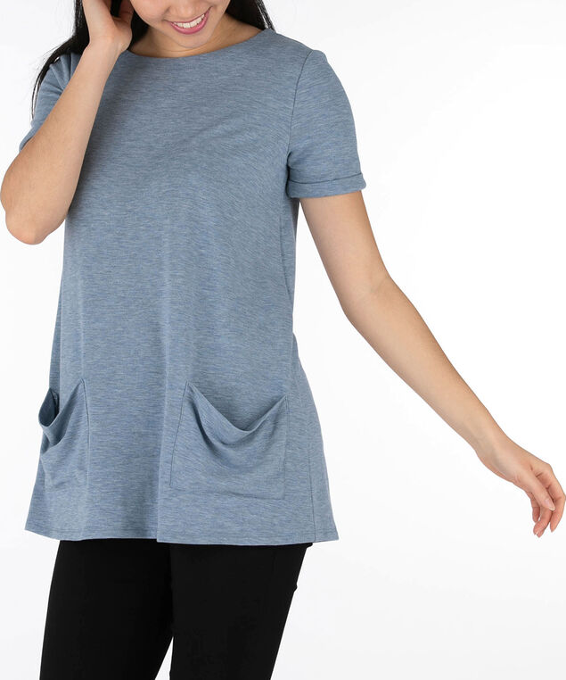 French Terry Tunic with Pockets, Indigo, hi-res