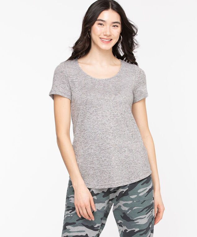 Scoop Neck Lightweight Knit Tee, Light Grey Mix