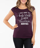 Extended Sleeve Festive Graphic Tee, Plum/Pearl, hi-res