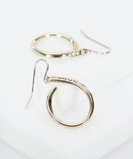 Crystal Studded Swirl Earring, Gold, hi-res