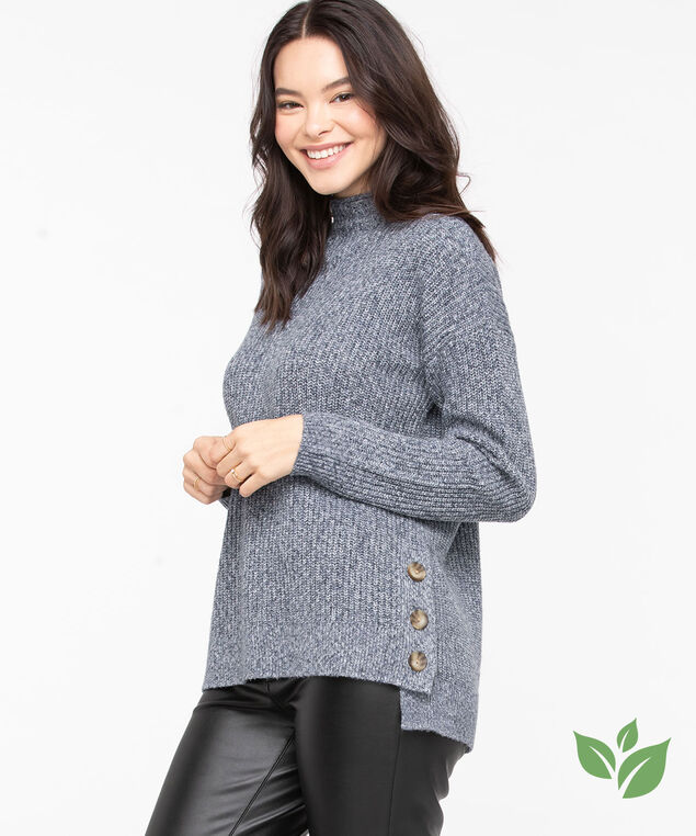 Eco-Friendly Mock Neck Sweater, Bijou Blue Mix