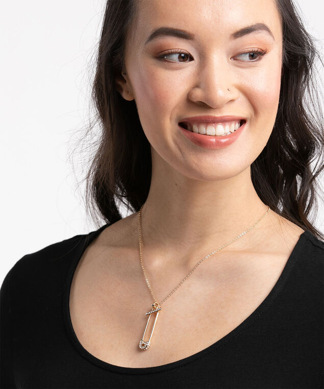 Crystal Safety Pin Necklace, Gold