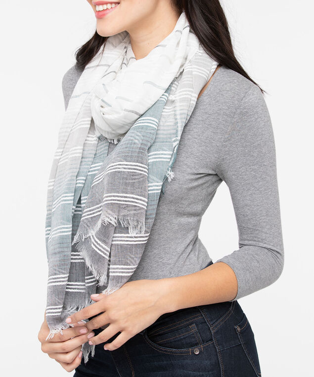 Striped Oblong Scarf, Pearl/Charcoal/Steel Blue, hi-res