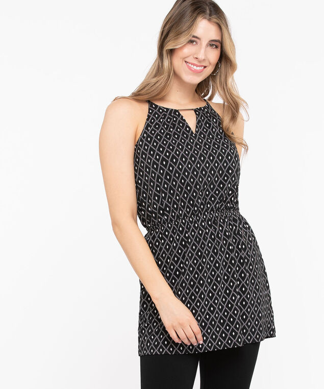 Keyhole Halter Style Tunic, Black/Pearl, hi-res