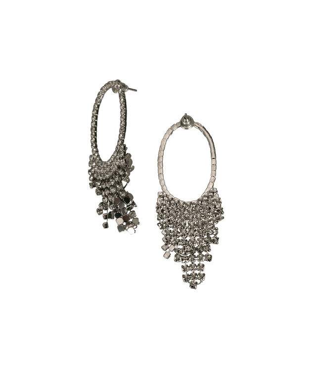 Crystal Oval Waterfall Earring, Clear/Rhodium, hi-res