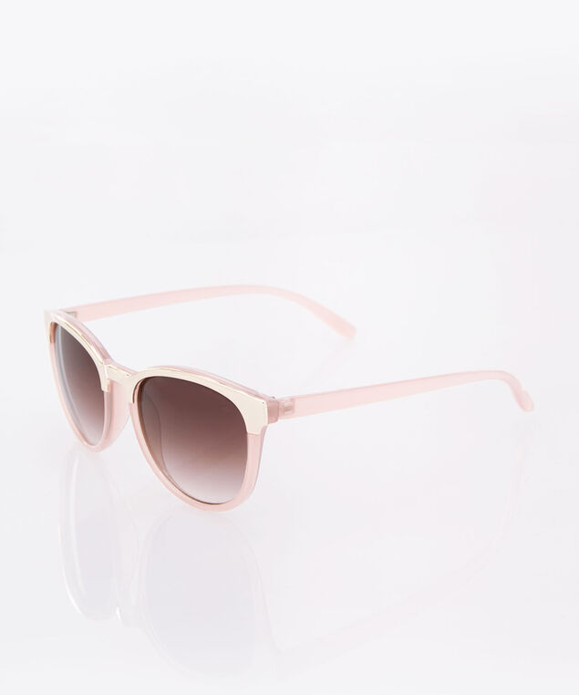 Rounded Gold & Pink Sunglasses, Pink/Gold, hi-res