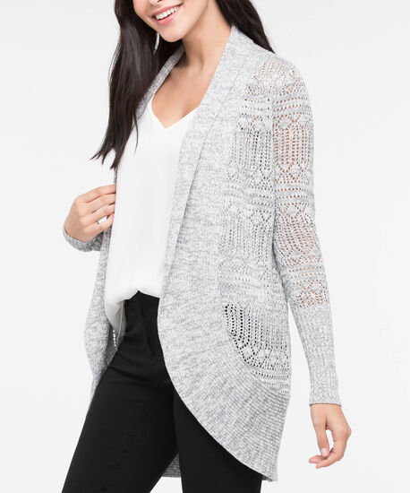 Cocoon Pointelle Open Front Cardigan, Mid Heather Grey Mix, hi-res