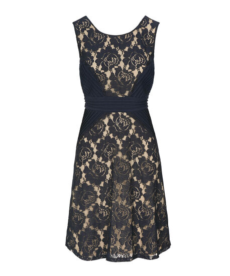 Pintuck & Lace Detail Dress, Summer Navy, hi-res