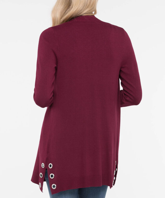Hardware Trim Open Cardigan, Burgundy, hi-res