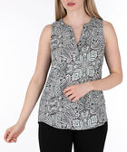 Sleeveless Henley Top, Black/Pearl/Pink, hi-res