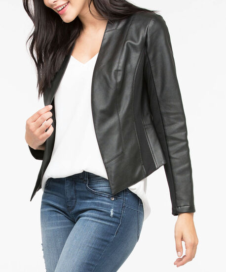 Faux Leather Open Front Blazer, Black, hi-res